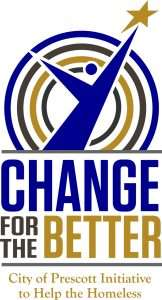 Change for the Better logo with person reaching for stars and words: change for the better City of Prescott Initiative to Help the Homeless