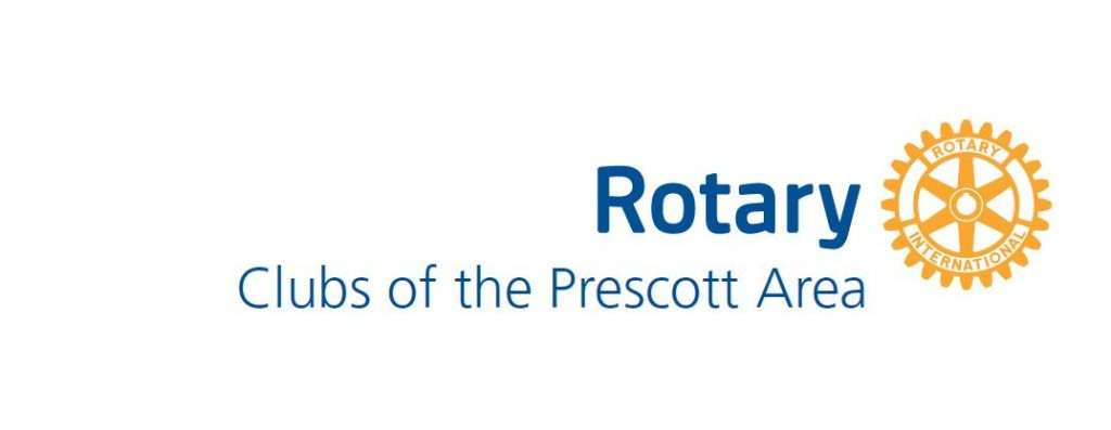 logo with words Rotary Clubs of Prescott Area and the Rotary symbol: a yellow wheel/gear with the words Rotary International