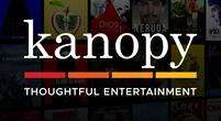 Kanopy logo with words: Kanopy Thoughtful Entertainment
