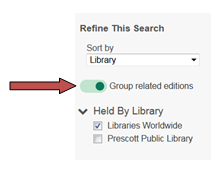 A screenshot showing an arrow pointing to the Group Related Editions slider.