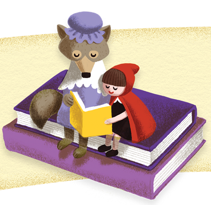 Illustration of Little Red Riding Hood reading with wolf dressed as grandma.